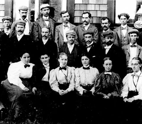 Class of 1897. Embryology course students, both maile and female, pose for a photograph outside the MBL in 1897.